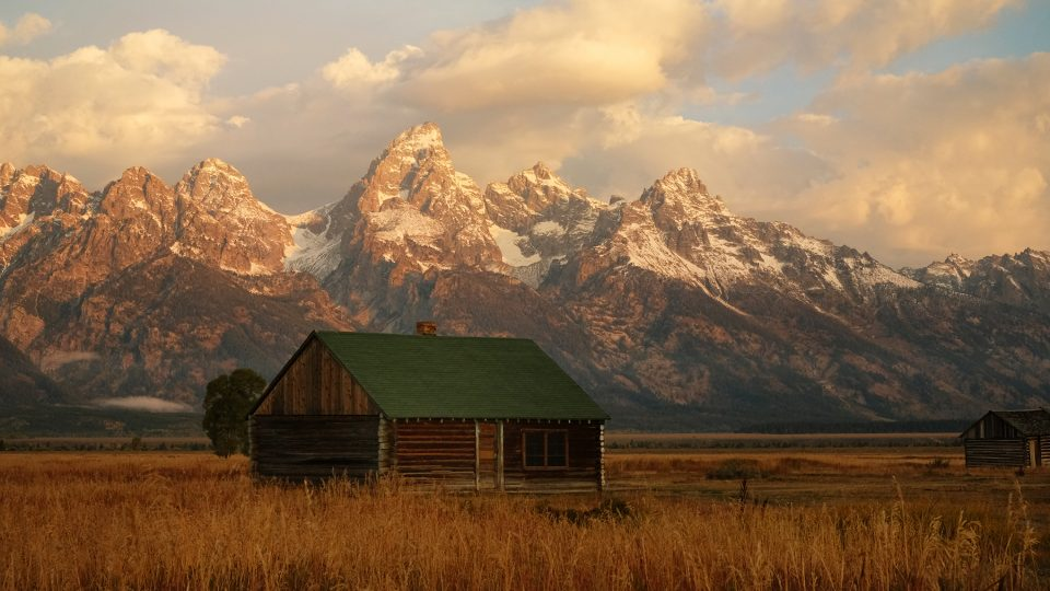 Cabin and tetons bright small